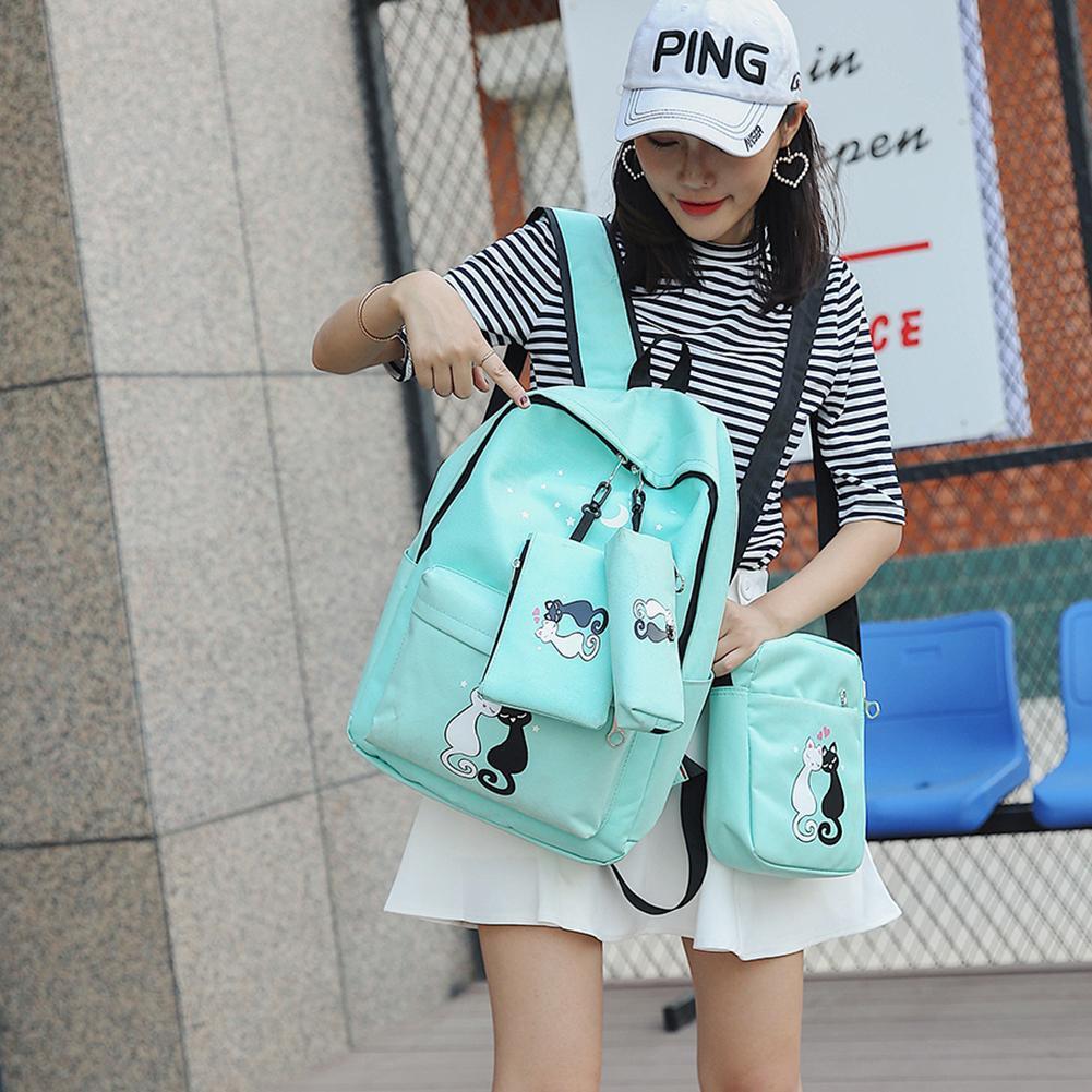 e556d6f2e0 ProductImage. ProductImage. ☆→4Pcs Women Backpacks Cute Cat Printing Canvas  Backpacks Ladies School Bags