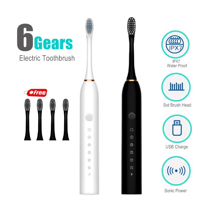 Electric Toothbrush Rechargeable Electronic Whitening Teeth Berus Gigi Elektrik