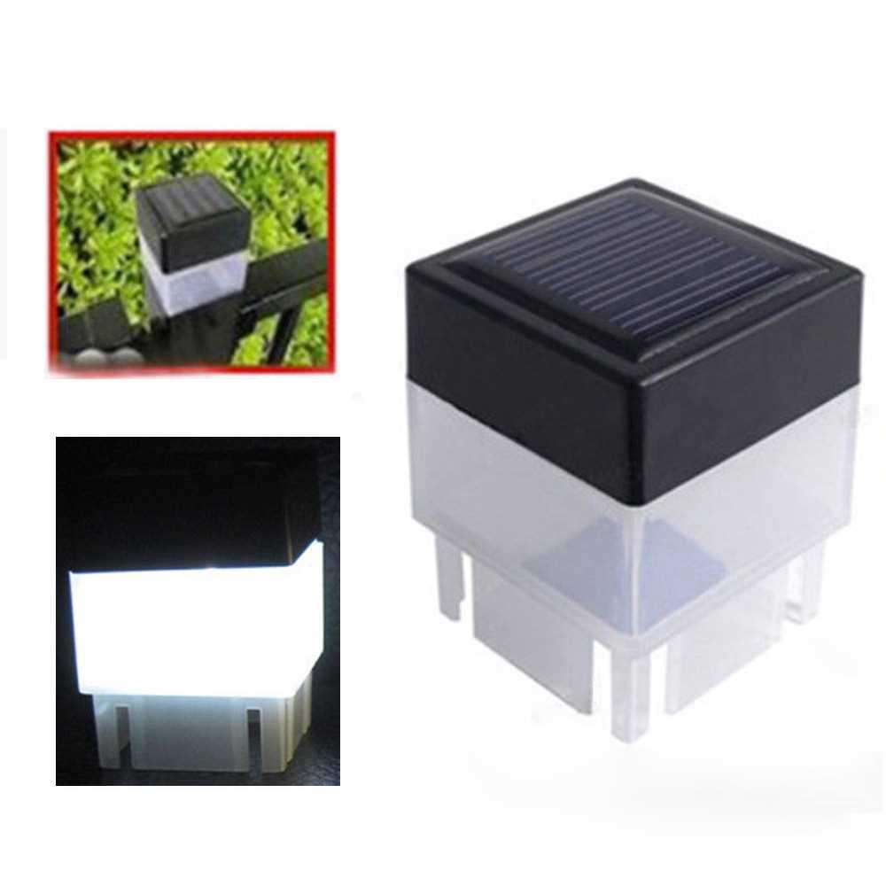 Outdoor Solar Powered Light Fence Yard Post Pool LED Square Light Courtyard Landscape Garden Lamp (White)