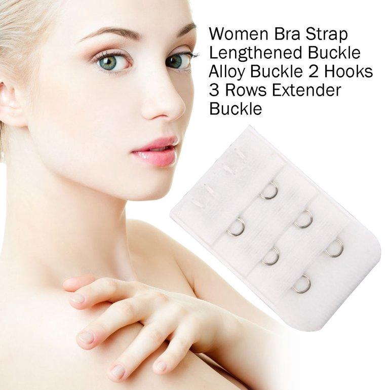 Women Bra Strap Lengthened Buckle Alloy Buckle 2 Hooks 3 Rows Extender Buckle Black