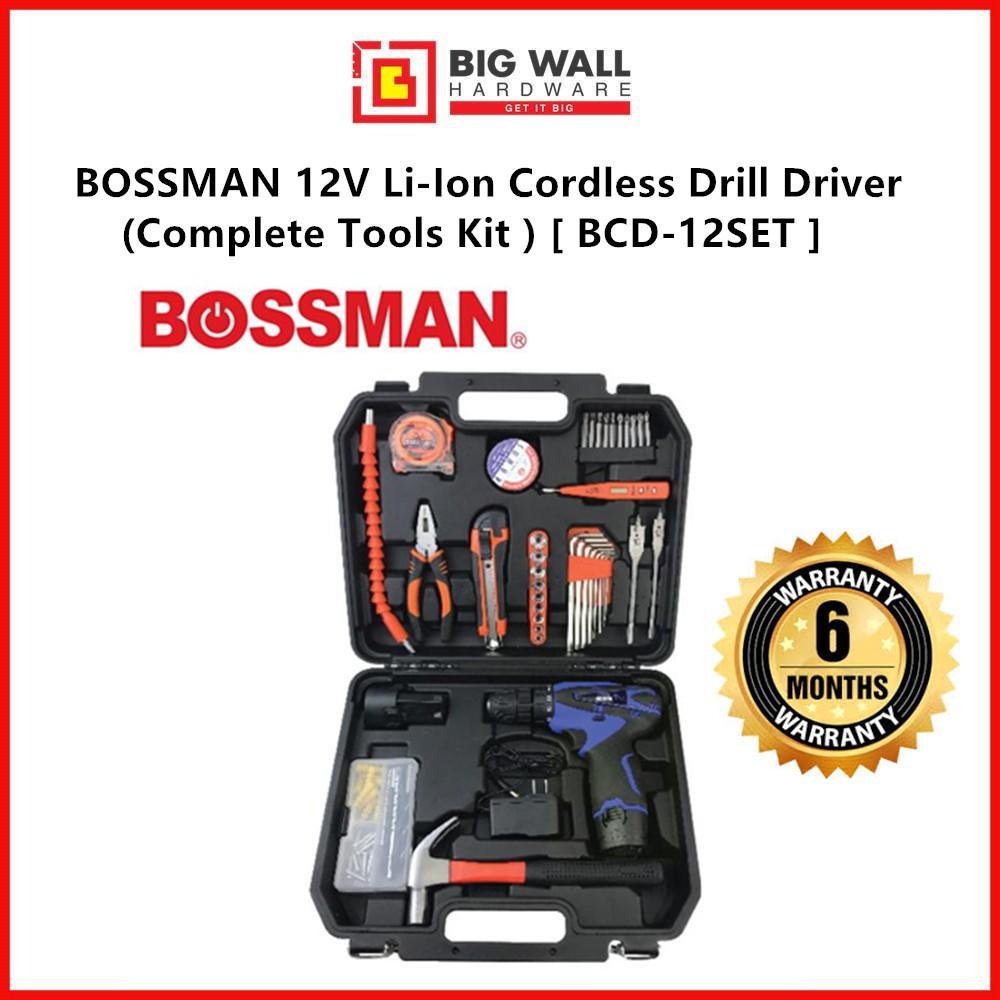 BOSSMAN 12V Li-Ion Cordless Drill Driver (With Tools Kit ) [BCD-12SET] Big Wall Hardware