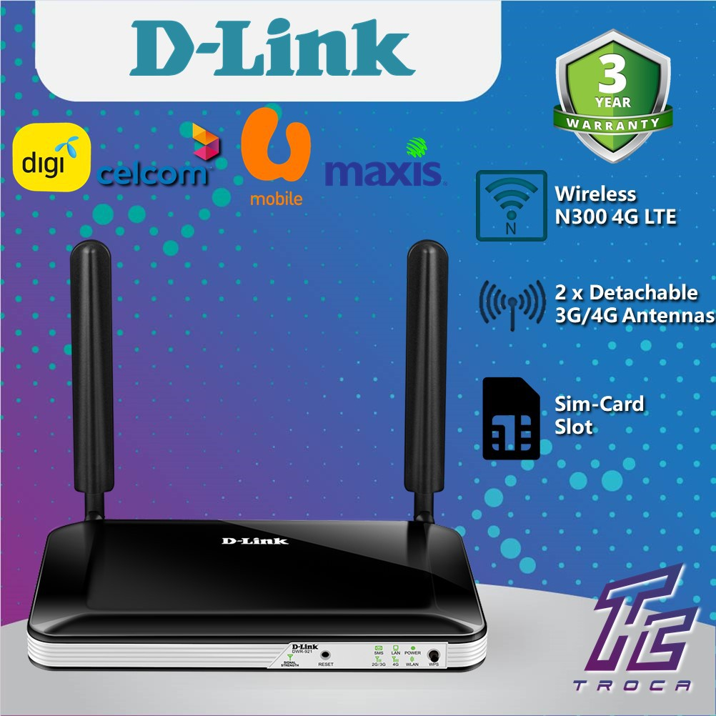 D-Link DWR-921 Wireless N 300Mbps 4G LTE WiFi Modem Router with Sim Card  Slot for DIGI, MAXIS, CELCOM, UMOBILE