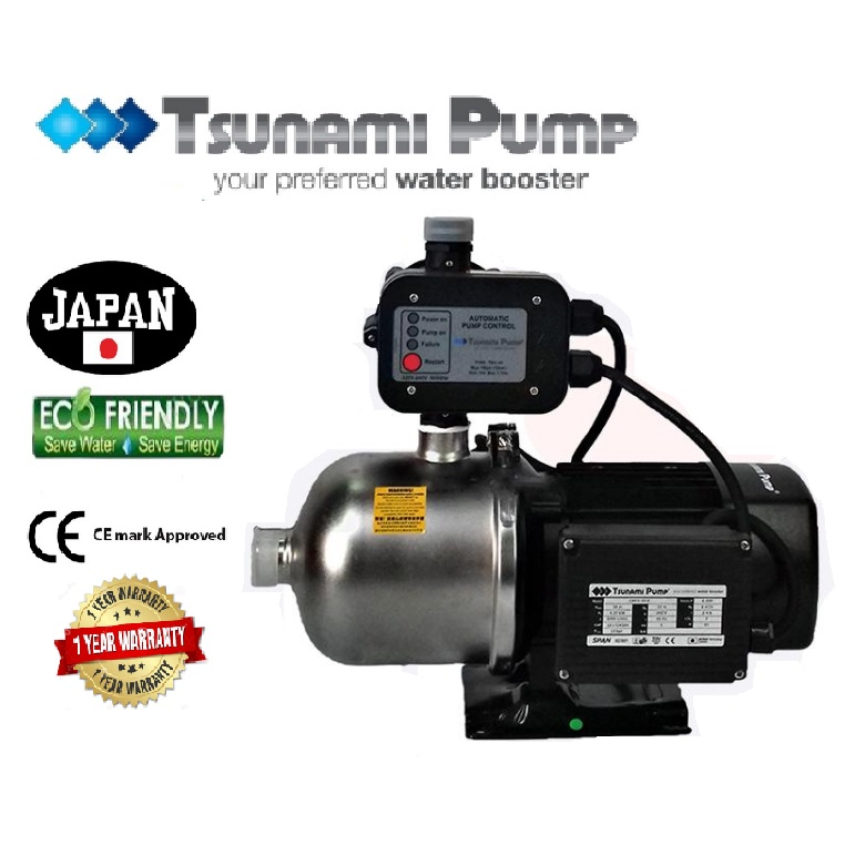 Tsunami CMF2-50-K Food Grade Stainless Steel Casing Home Auto Booster Pressure Water Pump【1 Year Warranty】
