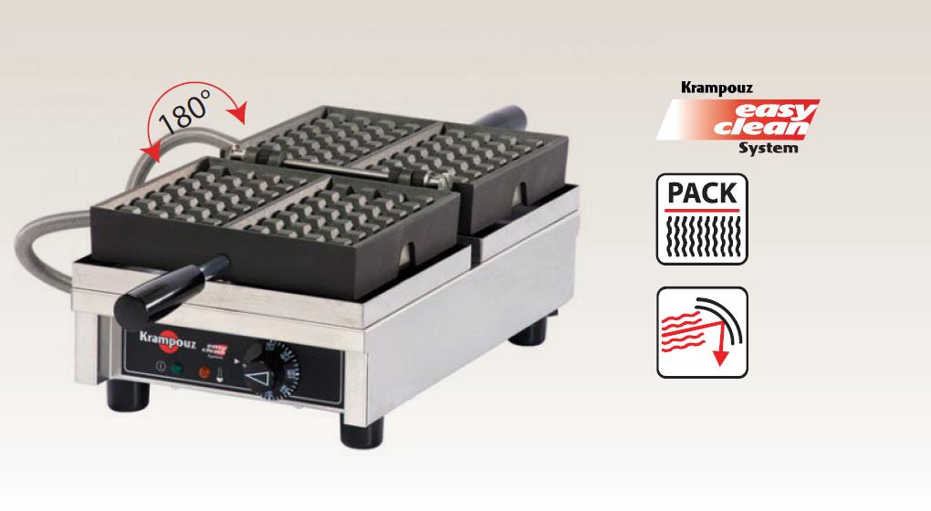 Electric Waffle Maker - Single 180deg, 4 x 6 Bruxelles, straight handles