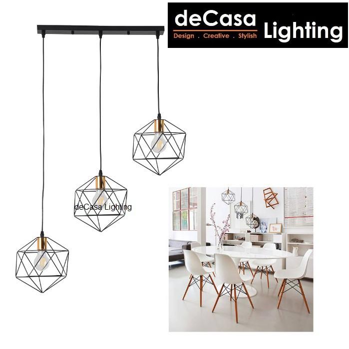 Decasa Lighting Diamond Loft Pendant Light E27 Holder Designer Decorative Ceiling Light Lampu Hiasan Siling (Z1068)