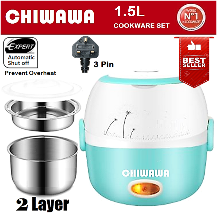 【Malaysia Plug】Electric 1.5L 2 Layer Lunch Box Steamer Rice Cooker / Periuk Nasi