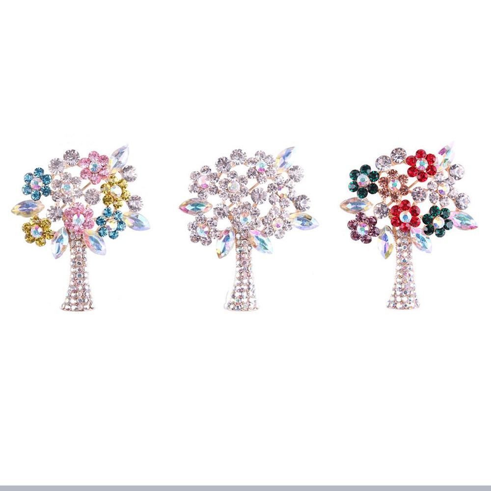 3fff8280c8698 Women Fashion Tree Brooch Crystal Gold Leaf Flower Hot Pins