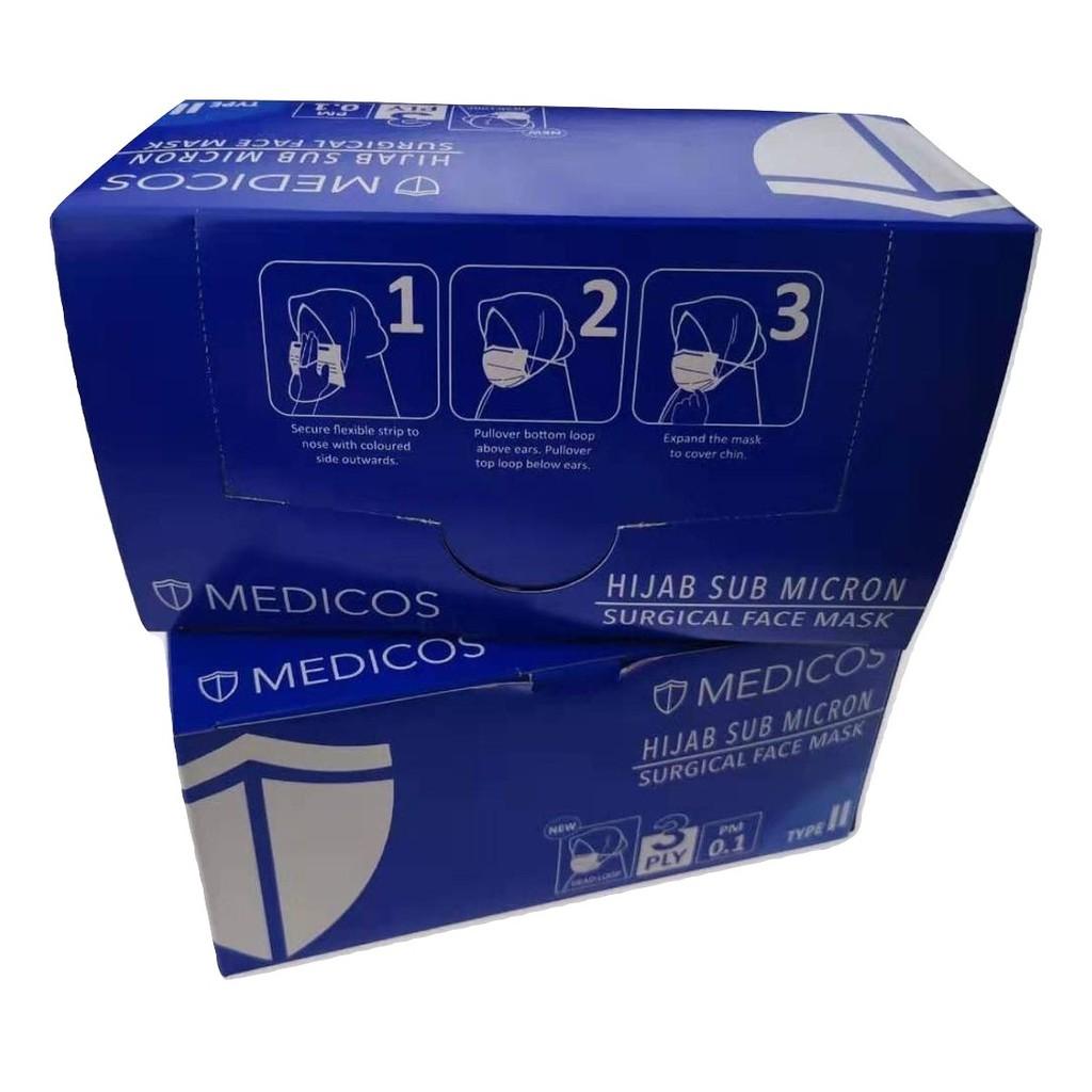 Purple Mask Hijab Surgical Blue Head Sub On Design Loop Tie Face Micron new Medicos 50pcs
