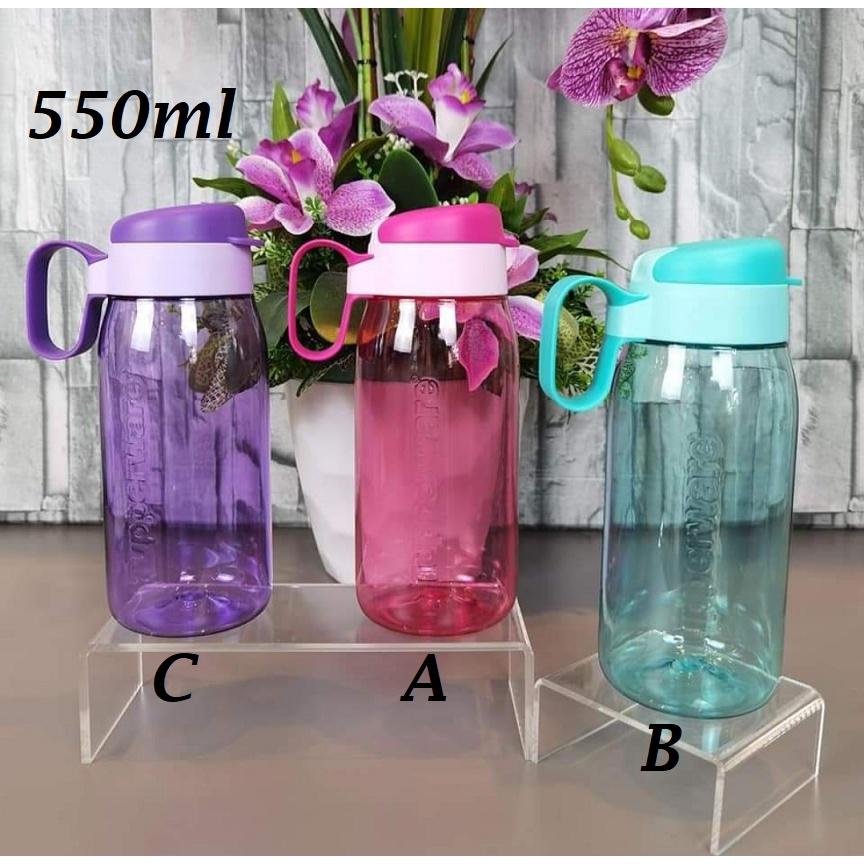 Tupperware H2Go Tumbler Water Bottle 550ml 1pc -Pink OR Turqouise OR Purple Fliptop Flip top