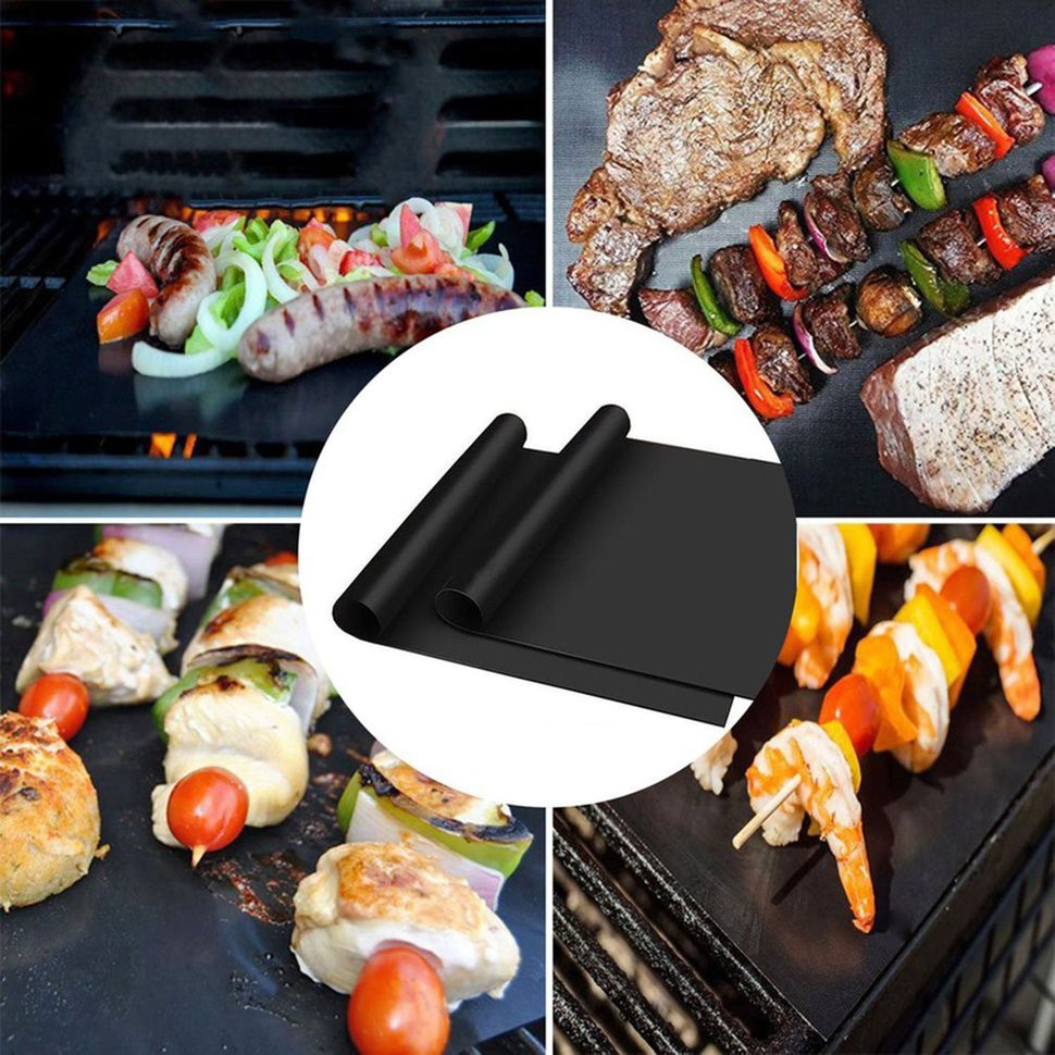 5Pcs Universal BBQ Grill Mat Teflon Reusable Sheet Resistant Barbecue Bake Meat