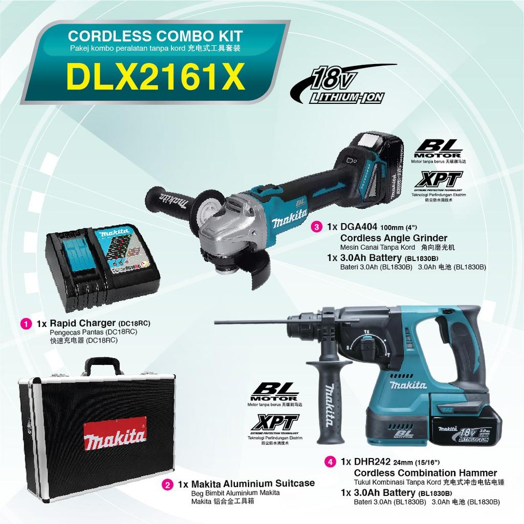 MAKITA DLX2161X CORDLESS ANGLE GRINDER ROTARY HAMMER DGA404 DHR242 BRUSHLESS