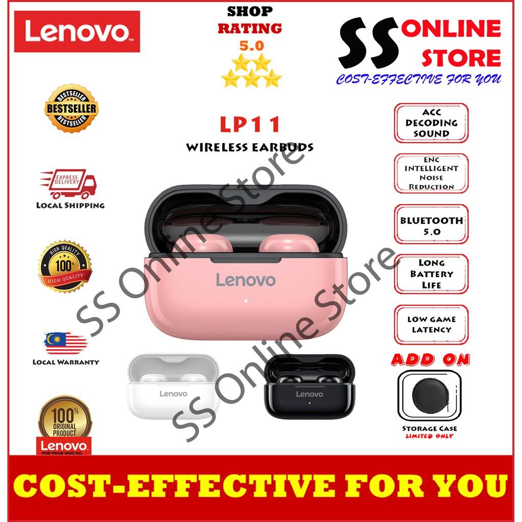 Lenovo LP11 TWS BT5.0 Wireless Earphones In-Ear Earbuds Intelligent Dual Mic/Noise Reduction/Touch C