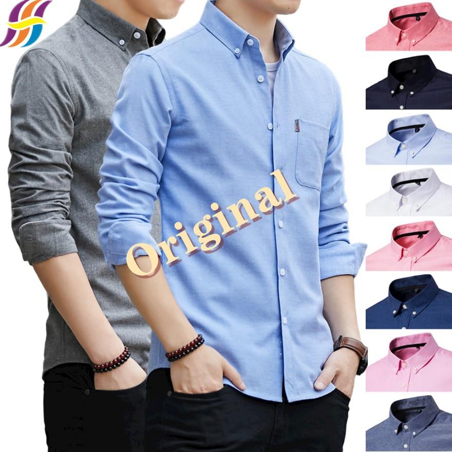 👍🔥Essential Oxford Shirt  Men Kemeja Long Sleeve Formal Slim Fit Ironless Men Shirt Plain Casual Shirts Kasual Baju lelaki
