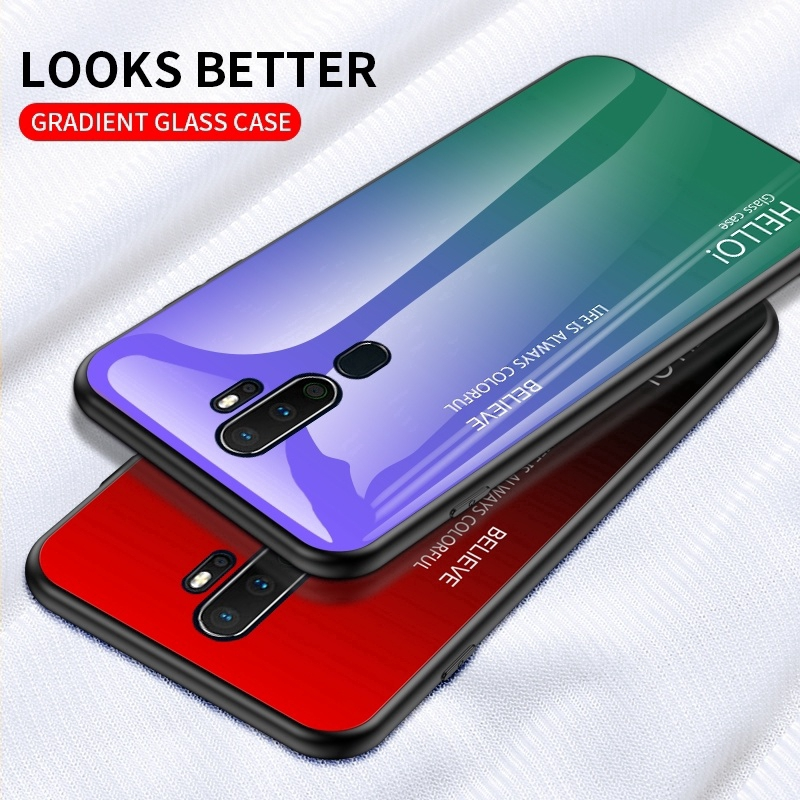 Casing For Huawei Mate 20 Pro P30 Lite Gradient tempered glass phone case  Soft TPU edge | Shopee Malaysia