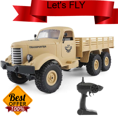 Great Discount JJR/C Q60D 1/16 2.4G 6WD RC Off-road Military Truck Transporter-1 Army Car DIY Toy (Yellow)