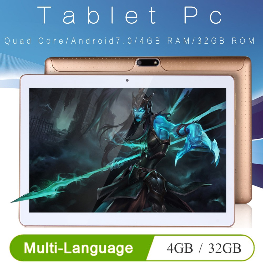 BDF New 10 inch Original Design 3G Phone Call WiFi Android 7.0 Quad Core 4G+32G Tablet pc Bluetooth GPS IPS Tablets