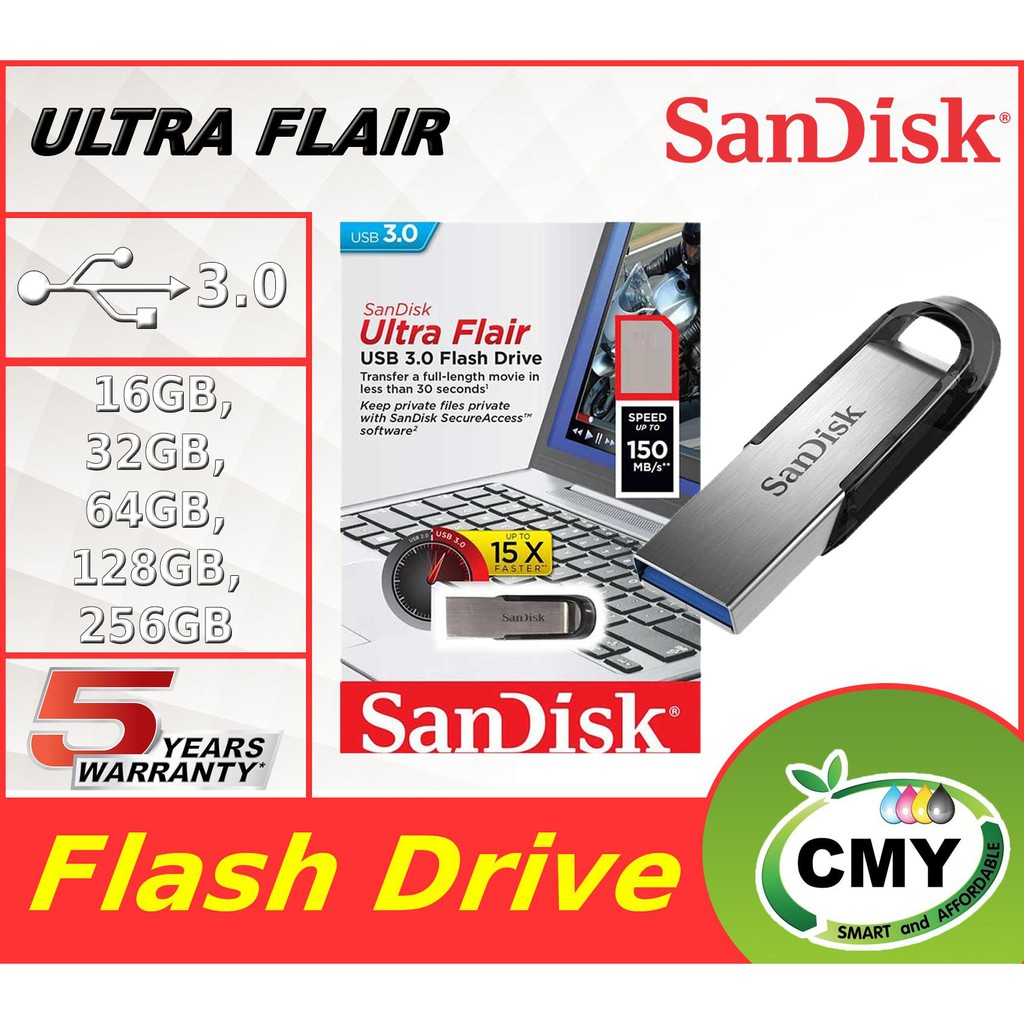 SanDisk Ultra Flair 16GB / 32GB / 64GB USB 3.0 Pendrive Flash Drive CZ73
