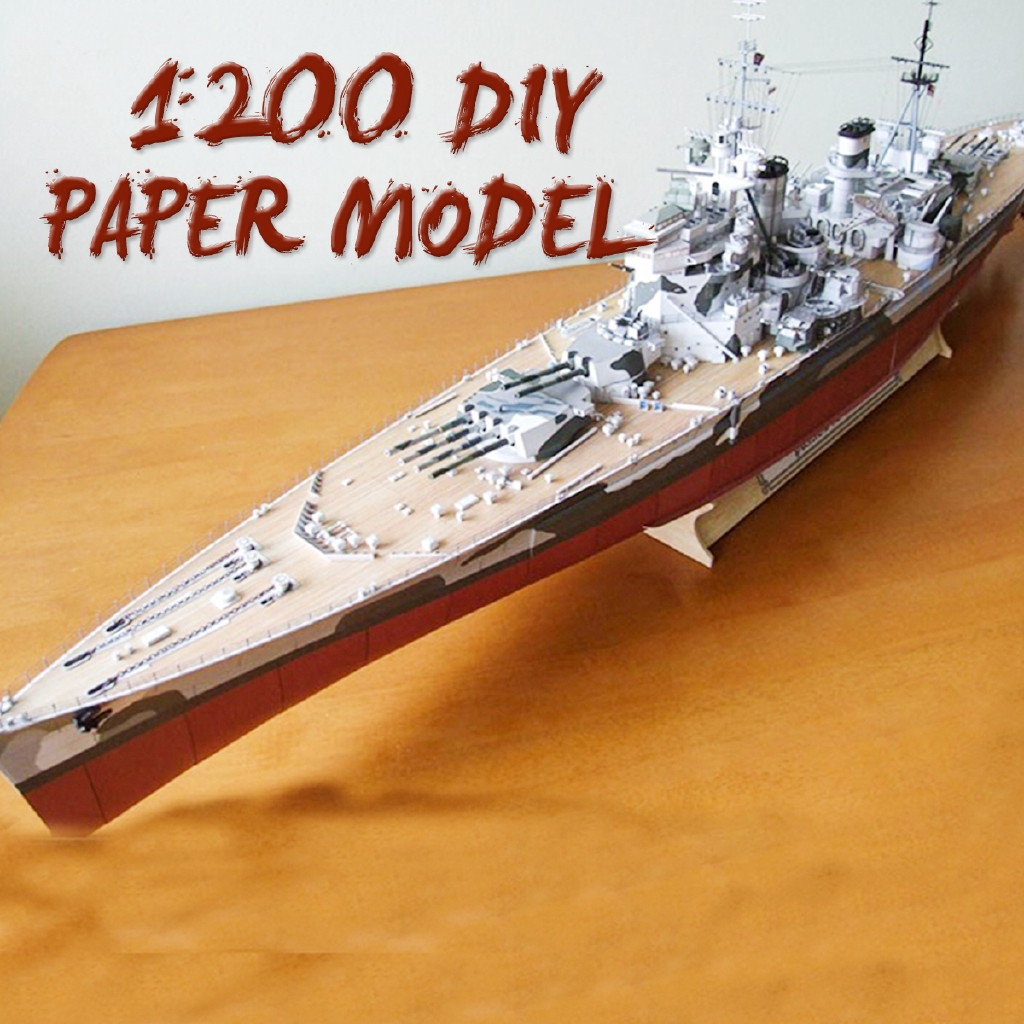 3D Paper HMS Prince of Wales Battleship Warship Navy Military DIY Toy Gift