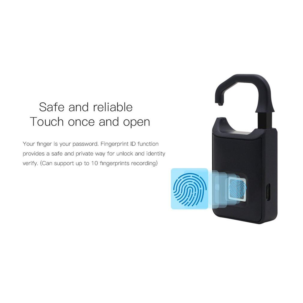 562862944482 P4 Fingerprint Lock USB Rechargeable Smart Keyless Padlock Suitcase Door  Lock