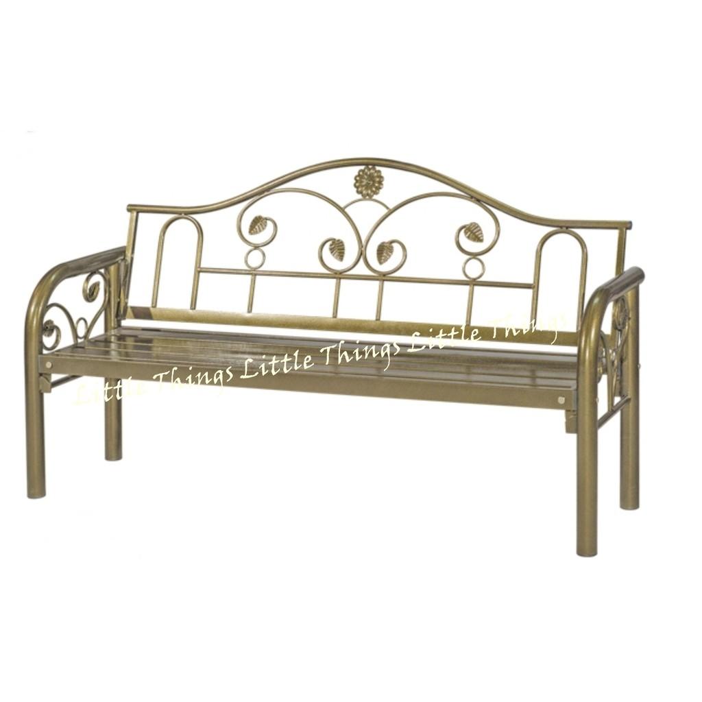 Long Bench Chair Antique Gold Flower