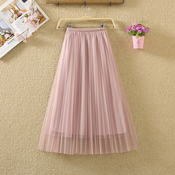 41d4eff7e0 HOT Spring and summer new mesh skirt pleated skirt wild elastic high waist  a word ins fairy long