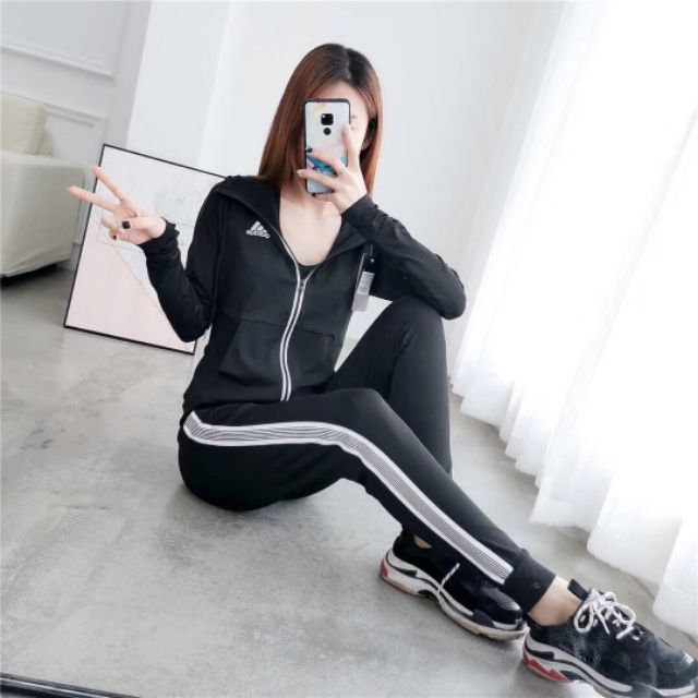 ADIDAS 3 PIECES Sport Outfit Set Women's Zipped Sweatshirt & Sweatpants  Active Top Bottom Sets   Shopee Malaysia
