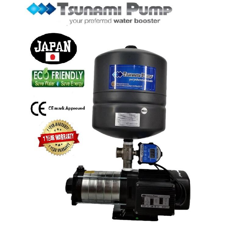 Tsunami CMH4-60-IPT  Digital Pressure Home Tank Horizontal Multi-Stage Pump Water Pressure Pump Booster【1 Year Warranty】