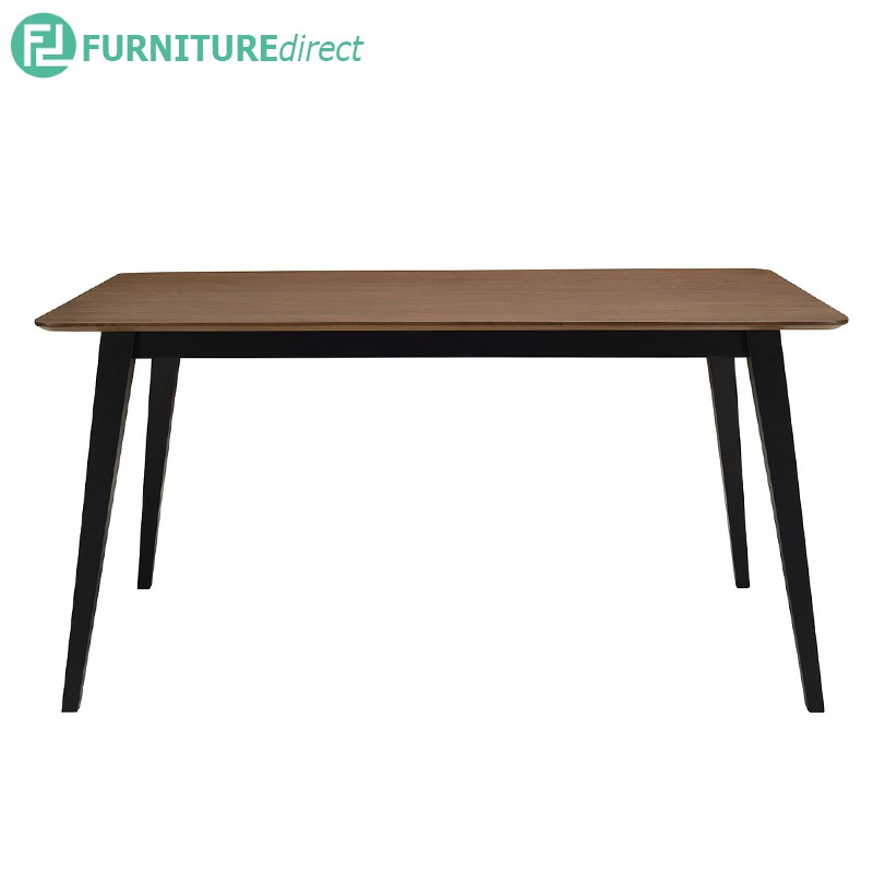 Platon solid rubberwood table with ash veneer top