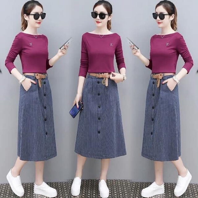 Korean style boat neck top stripe skirt with belt | Shopee Malaysia