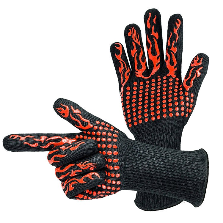 2PC Barbecue Heat Resistant Silicone Gloves Oven Kitchen Grill BBQ Cooking Mitts
