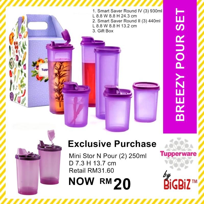 Original TUPPERWARE Breezy Pour Set with Add-On Mini Stor N Pour 2x 250ml [Ready Stock]