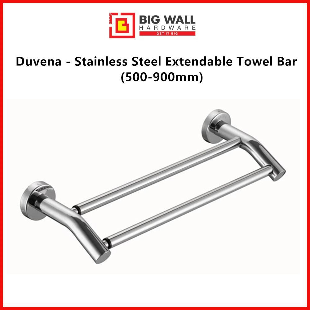 Duvena - Stainless Steel Extendable Towel Bar for Bathroom/Kitchen (Size: 400 - 900mm) (Duva 1910) Big Wall Hardware