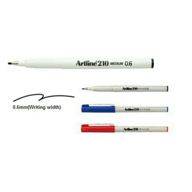 Artline 210 Writing Pen 0.6mm (Black / Blue / Red) 12pcs/box