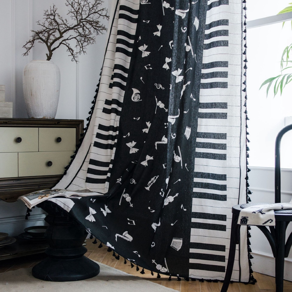 Modern Simple Cotton Linen Curtains With Tassel Piano Symbol Semi Sheer Curtains For Living Room Rings Top Hooks Top Rod Pocket Curtains For Window Home Decorative Shopee Malaysia