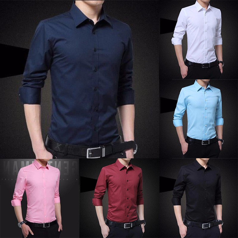 Baju Lelaki 6 Colour Men's Shirt Long Sleeve Shirt Slim Fit Men Kemeja Lelaki Business Formal Shirt❤Ready Stock❤