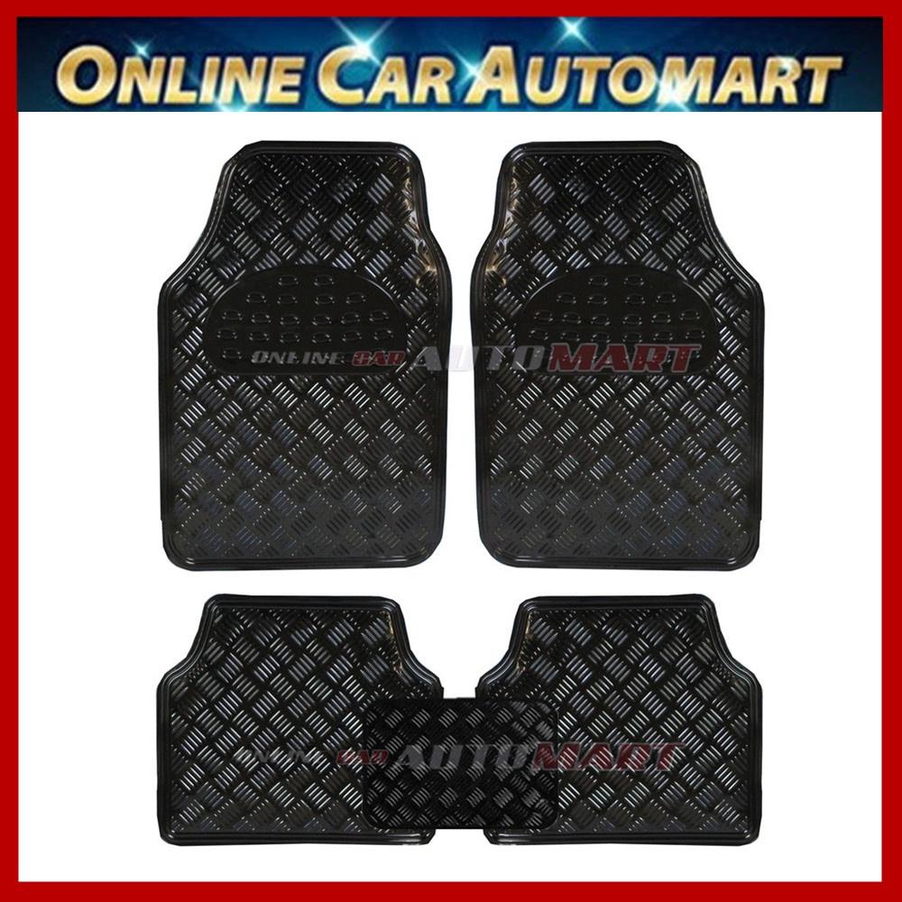 Universal Fit Metallic design Car Floor Mat  - Carbon  / Blue / Red/ Black/ Silver - 5pcs/set
