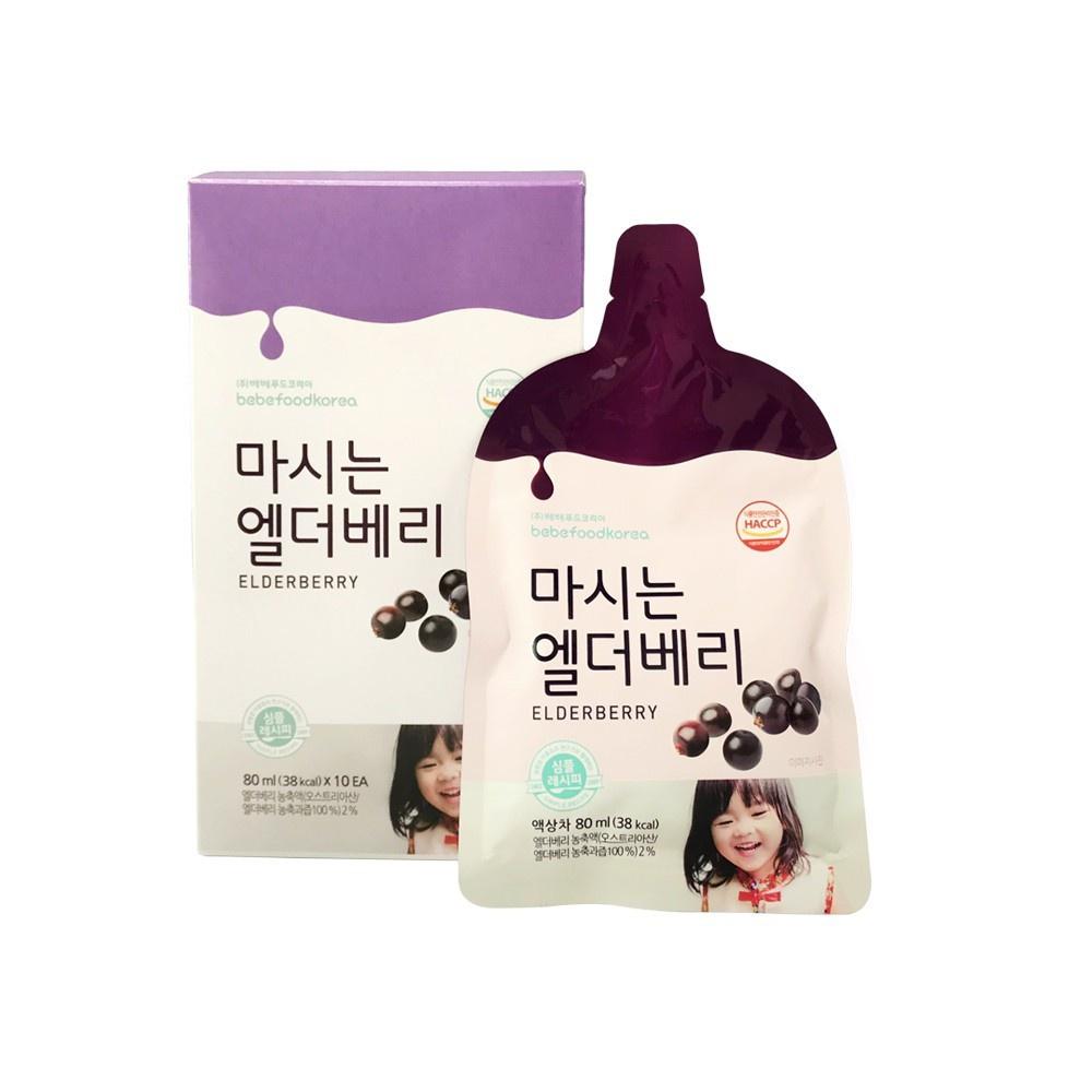 Bebefood Elderberry Juice 80ml x 10packs Expiry 10/2021 黑莓汁 接骨木苺果汁