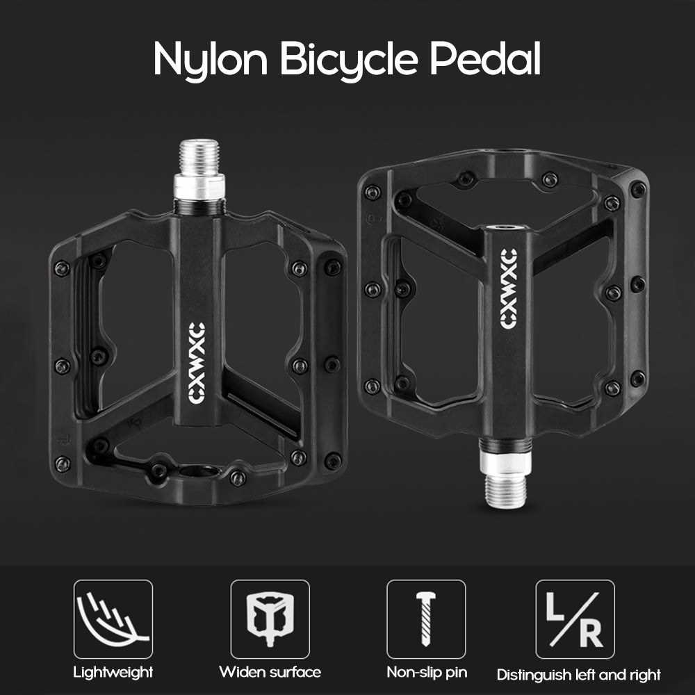 Nylon Bicycle Pedal Pair Steel MTB Road Bike Pedals 3 Sealed Bearing Cycling Parts (Orange)