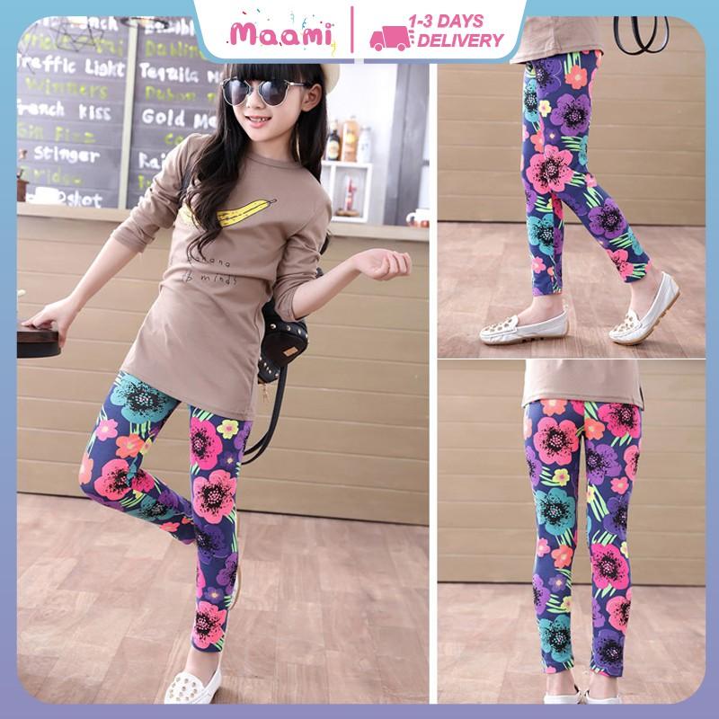 N Kids Stretch Skinny Leggings Pants Printed Floral Girls Cropped Trousers 5-12Y