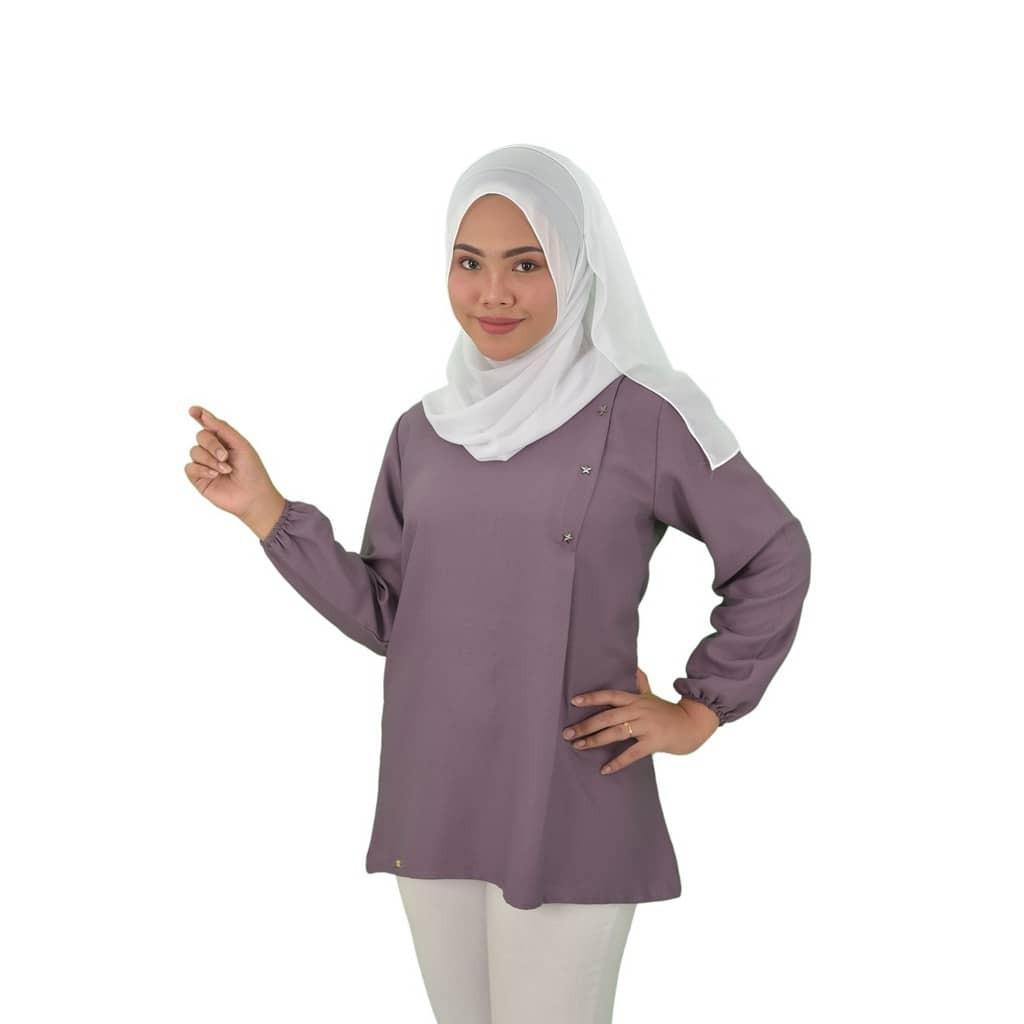 ROCKSTAR blouse Fashion Design Muslimah Premium Como Crepe Long Sleeves Plain Blouse Lengan Panjang Ironless