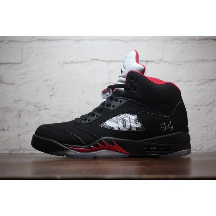 info for a4c33 c77f0 original Nike Air Jordan 5 Retro x Supreme 'Black' 40-47 AJ5 Basketball  shoes