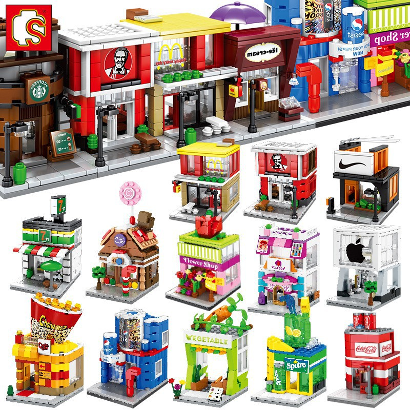 Model Building Punctual Mini Fast Mart Store Compatible Legoing City Architecture Street View Model Building Blocks Toys For Children Legoings Juguetes Fast Color Blocks