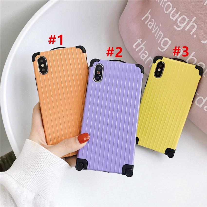 lowest price 03285 d25c2 Fashion Solid Color Phone Case Iphone XR XSmax X 6 6s 7 8 6plus 8plus Soft  Case Cover Creative Wheel Travel Case