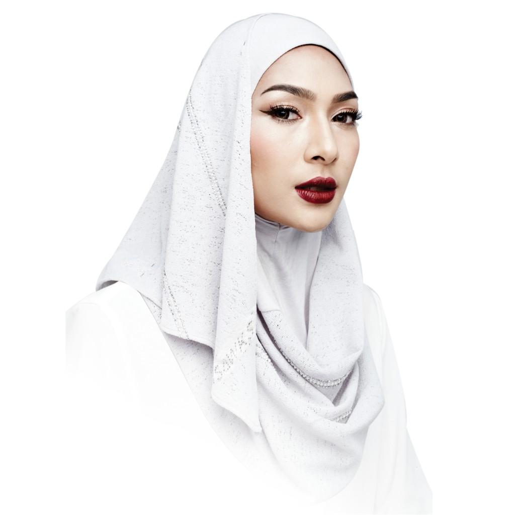Semlouis 2 in 1 Hijab Long Shawl - Berhiasan Rhinestone Berjalur