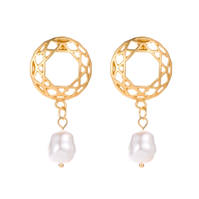 Korean version hot selling Earrings round mesh hollow pearl