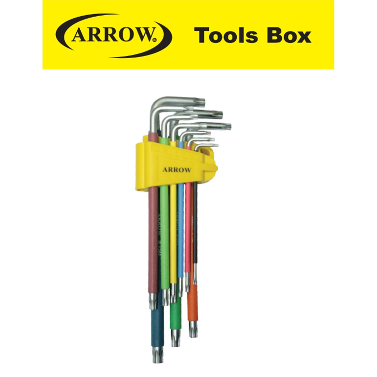 ARROW A65000 9 PIECES EXTRA LONG BALL TORX ANTI SLIP COLOR GRIP  EASY USE SAFETY GOOD QUALITY