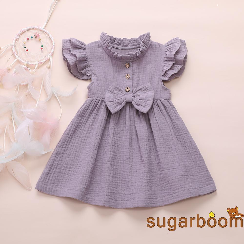 Newborn Kids Baby Girl Solid Linen Button Ruffle Princess Party Dress Clothes