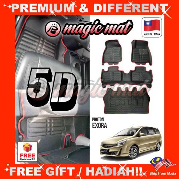 [FREE GIFT Gift] PROTON EXORA (7 Seater) MAGIC MAT 5D OEM PU Leather Floor Mat Anti-Slip Easy Clean Carpet