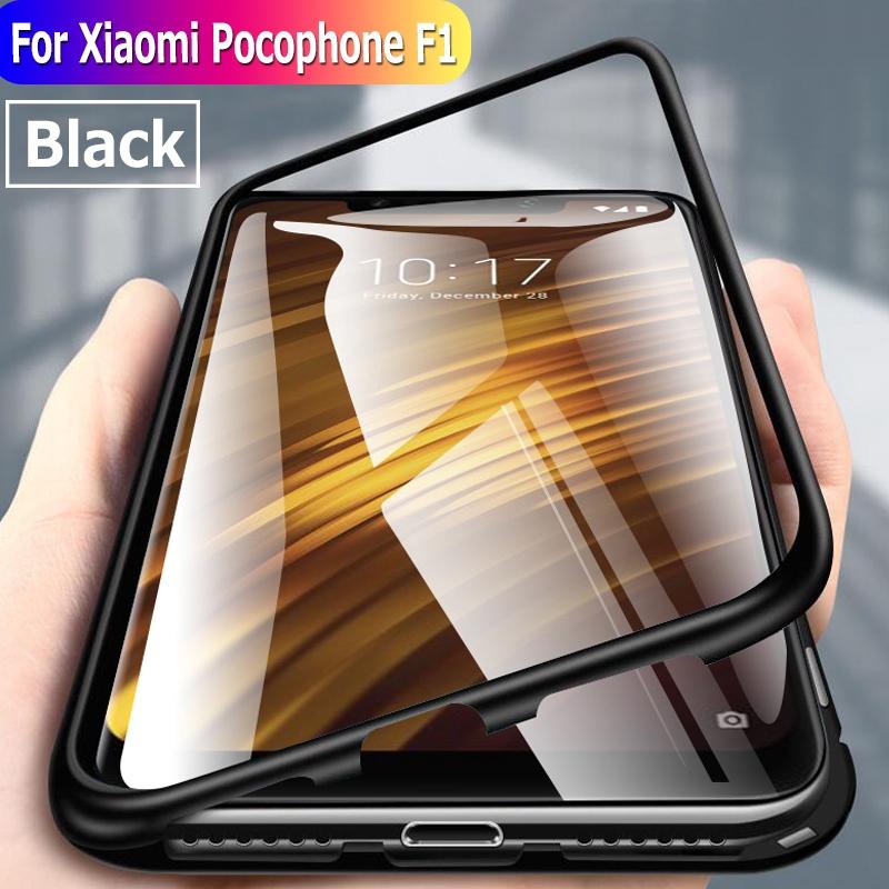 best website 831df ea05f Xiaomi Pocophone F1 Hard Case Magnetic Frame Aluminum Glass Clear Phone Case