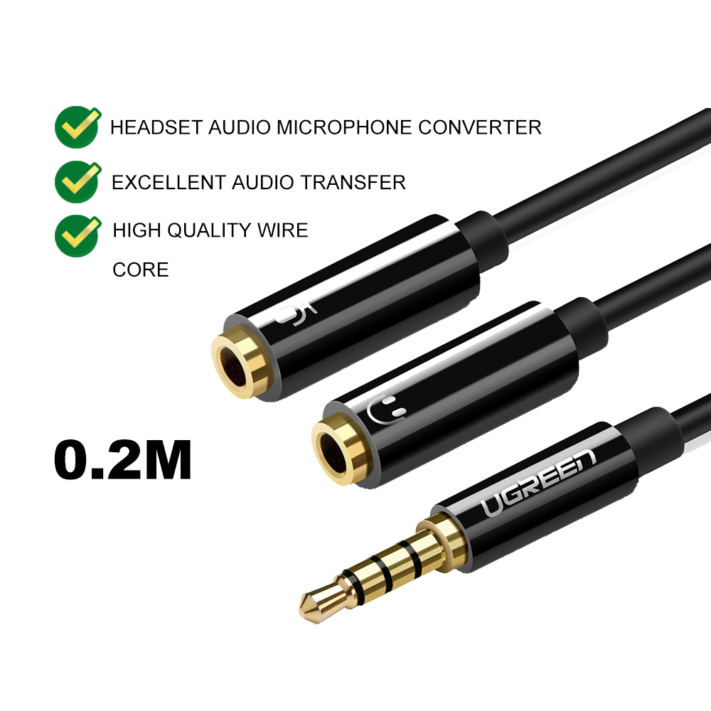 UGREEN 3.5 mm Male to 2 Port 3.5mm Female Aux Audio Stereo Y Splitter Cable Converter Adapter Pc Laptop Smartphone 20 CM